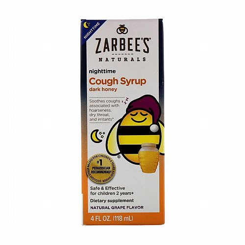 Zarbees, Childrens Nighttime Cough Syrup, Natural Grape Flavor, 4 fl oz (118 ml)
