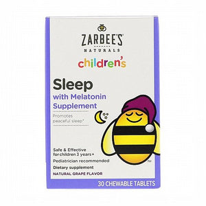 Zarbees, Childrens, Sleep with Melatonin Supplement, Natural Grape, 30 Chewable Tablets