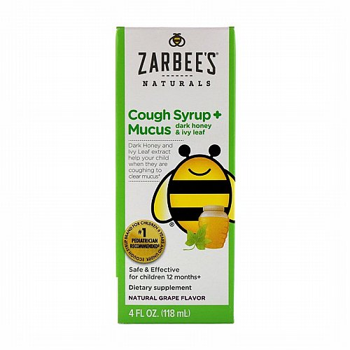 Zarbees, Naturals, Childrens Cough Syrup + Mucus, with Dark Honey, Natural Grape Flavor, 4 fl oz (118 ml)
