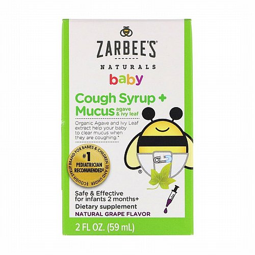 Zarbees, Baby, Cough Syrup + Mucus, Natural Grape Flavor, 2 fl oz (59 ml)