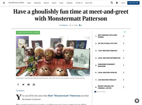 Monster Matt's Event Listed in Local Paper