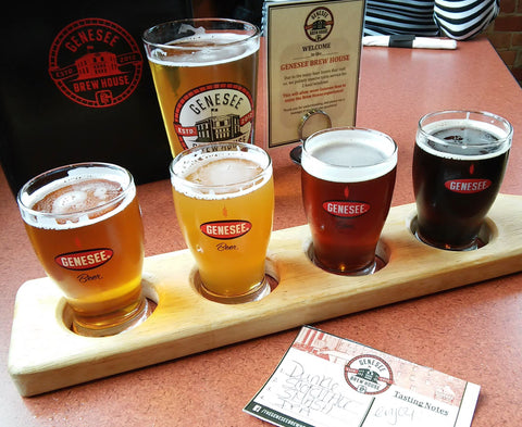 Flight of Genesee Beers at the Genesee Brewhouse