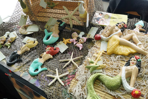 Retro chalk ware mermaids by BarbieK