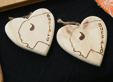Buffalo Love (Buffalove!) wood burned ornaments