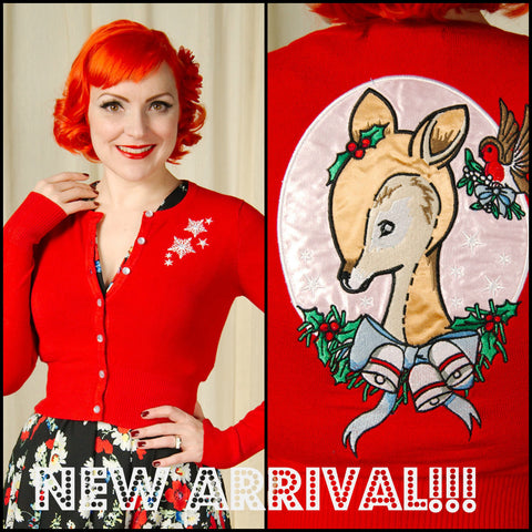 RED NOELLE SNOWY DEER CARDIGAN by Hell Bunny