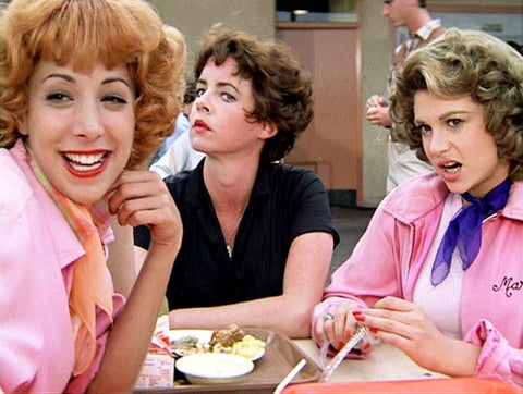 Retro movie fashion, Grease. The Pink Ladies. 1950s retro fashion