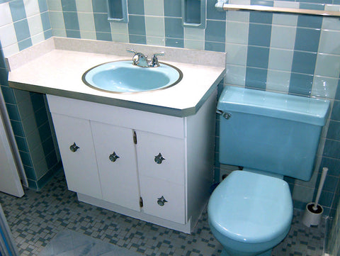 A retro renovation, save the blue bathroom.