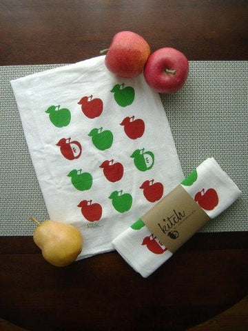 Apple retro design silkscreened on Kitch Towels