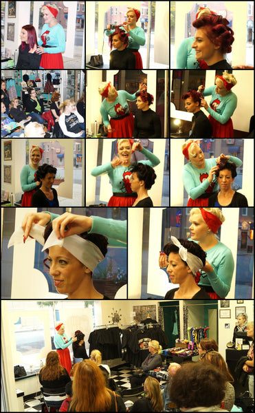 Vintage up do's with the atomic blonde in store event 2016