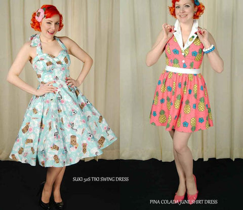 Tiki dresses featured on Glamour Daze