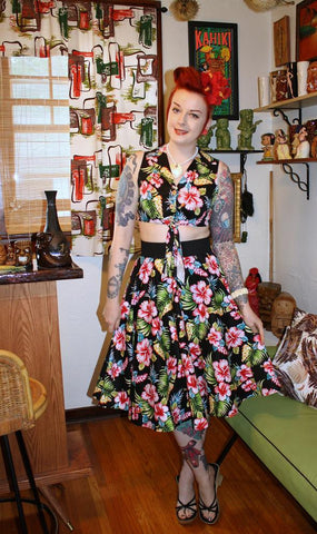 Mai Tropical from Hell Bunny. Tiki tropical fashion modeled by Meagan Kyla