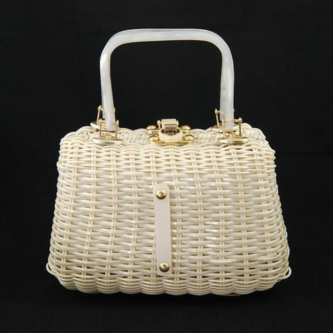Vintage Lucite and Wicker handbag