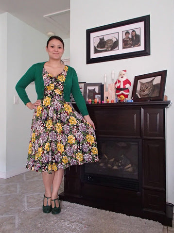 Trashy Diva Louise dress in Victory Floral-with Kelly Green