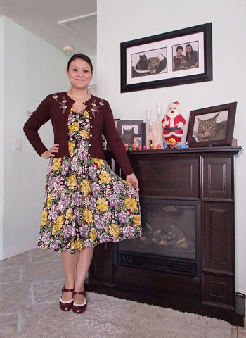Trashy Diva Louise dress in Victory Floral- with Maroon