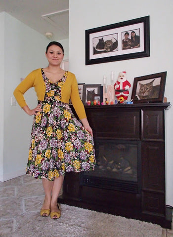 Trashy Diva Louise dress in Victory Floral- with Mustard Yellow
