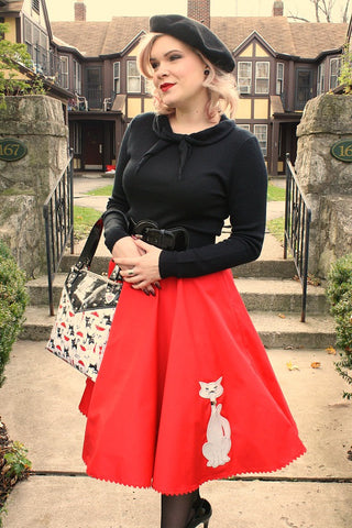 Red Kitty Proper Circle Skirt by Mode Merr. Retro style. Cats Like Us