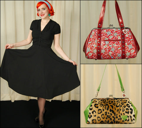 1940s Rosina Dress styled with patterned handbags