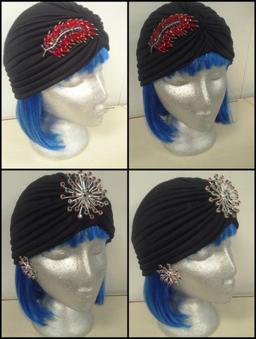 Black Hair Wrap Turban with brooches