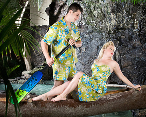 The 60s style design has a longer short with built in zipper and a roomy box style shirt. This cabana set is perfectly matched with the ladies Shaheen Style Sarong Set, perfect for Viva's tiki pool party or for your tropical honeymoon get away.