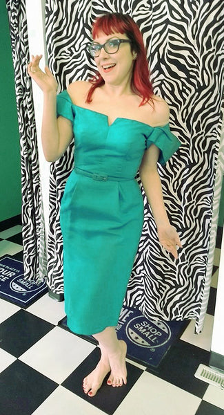 1950s Sexy Teal Wiggle Dress by Vintage Collection by Cats Like Us - Cats Like Us
