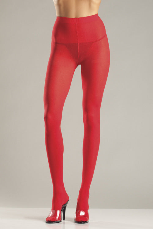 Red Opaque Nylon Tights by Be Wicked
