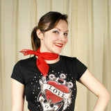 Viva Dulce Marina Red 50s Neck Scarf for sale at Cats Like Us - 3