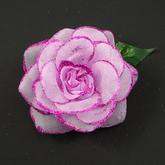 Plum Purple Glitter Rose Flower