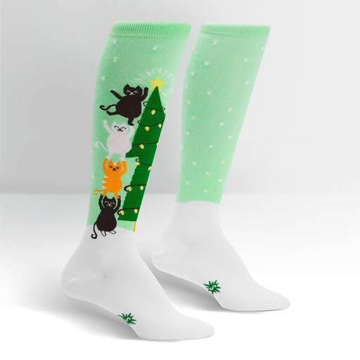 Naughty or Nice Cat Knee Socks