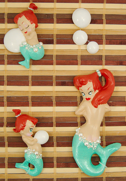 Turq Redhead Baby Mermaid Set by Barbie K : Cats Like Us