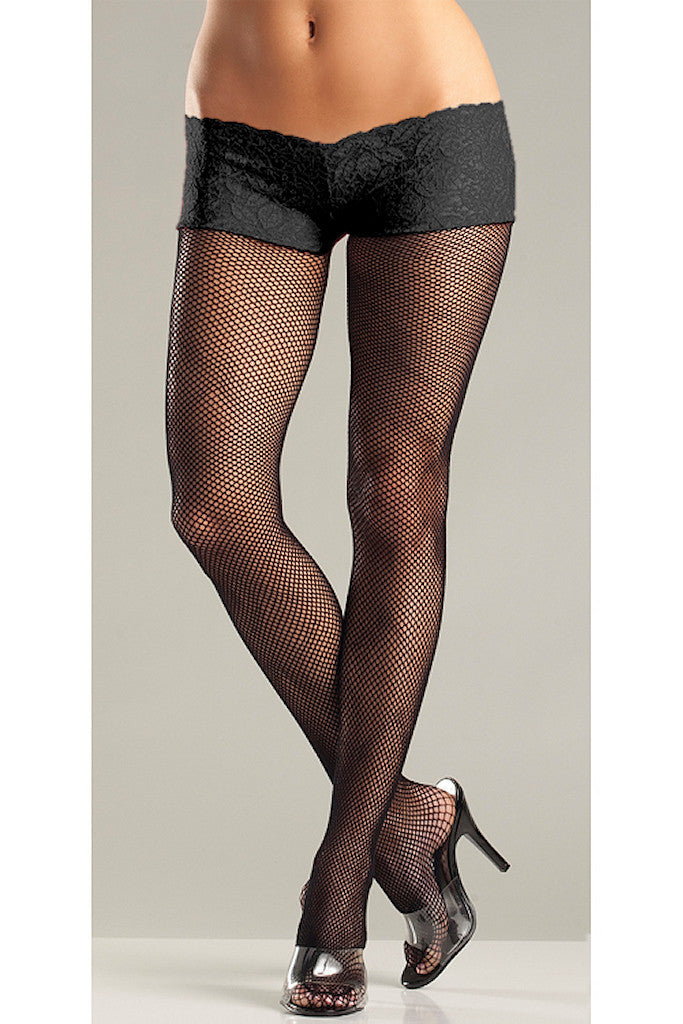 Black Fishnet Back Seam Shorts by Be Wicked
