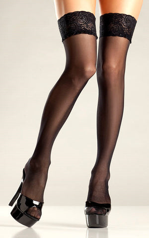 Black Sheer Stay Up Thigh High by Be Wicked