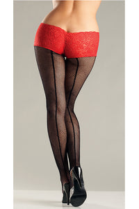 Red Fishnet Back Seam Shorts - Cats Like Us