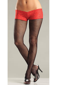 Red Fishnet Back Seam Shorts by Be Wicked