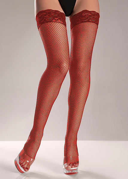 Red Stay Up Fishnet Thigh High