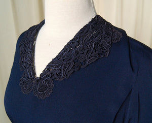 1940s Navy Lace Dress - Cats Like Us