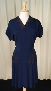 1940s Navy Lace Dress