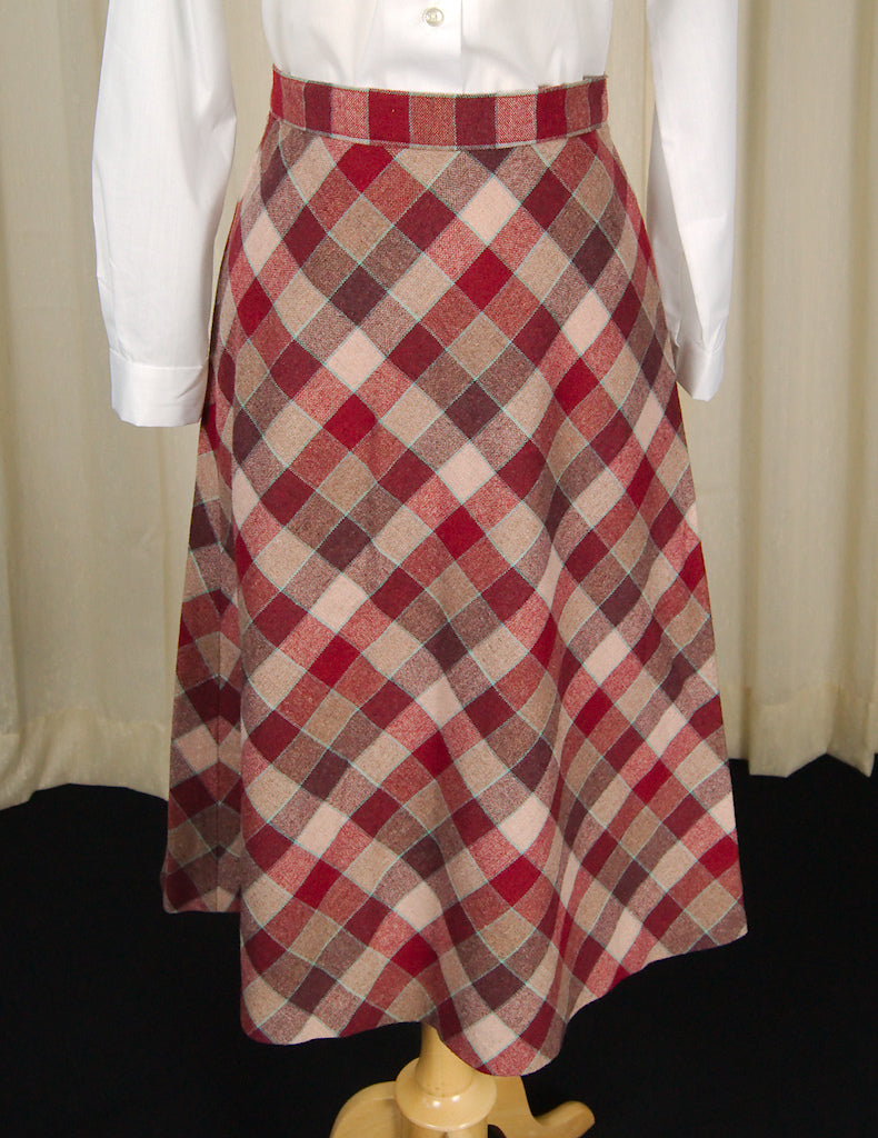 1960s Raspberry Check Skirt by Cartel Ink - Cats Like Us