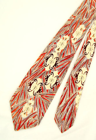 1940s Abstract Feather Tie by Cats Like Us - Cats Like Us