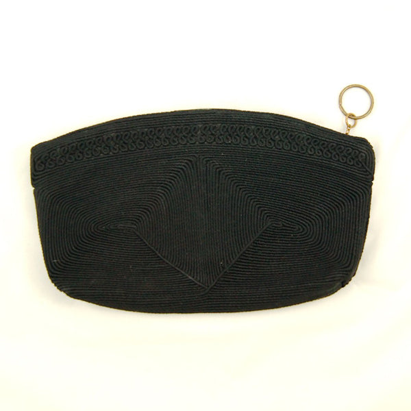 1940s Black Cord Clutch Bag by Cats Like Us - Cats Like Us