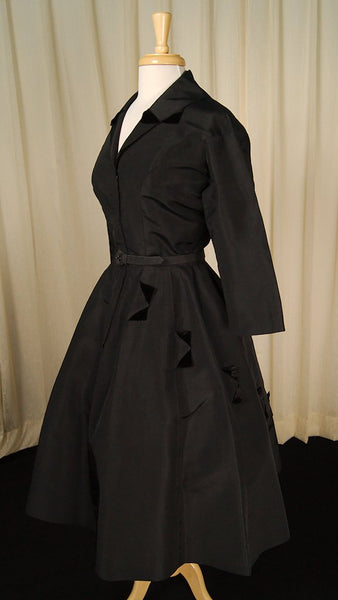 1940s Black Velvet Detail Dress by Vintage Collection by Cats Like Us : Cats Like Us