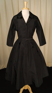 1940s Black Velvet Detail Dress by Vintage Collection by Cats Like Us - Cats Like Us