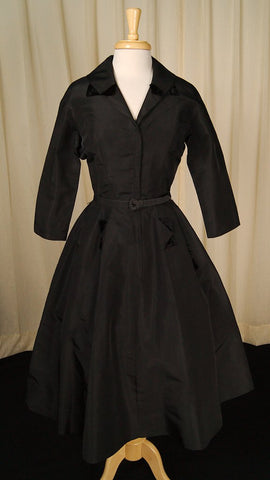 1940s Black Velvet Detail Dress by Cats Like Us : Cats Like Us