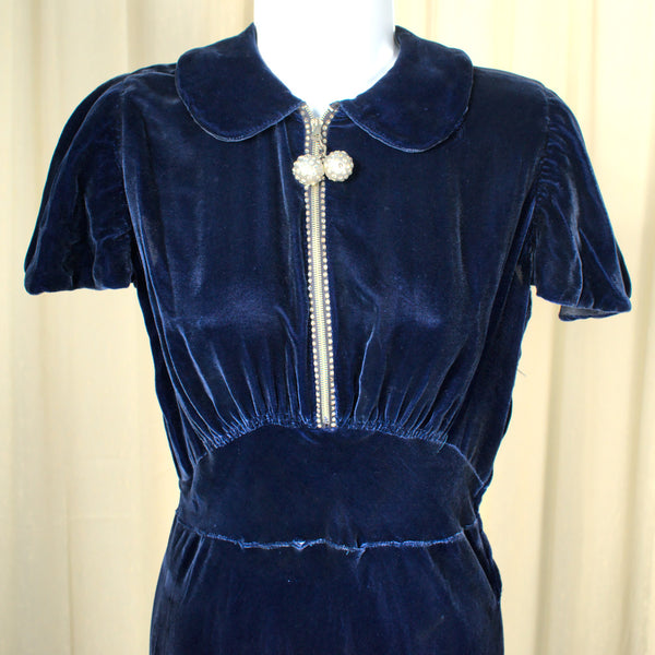 Vintage 1940s Blue Velvet Bias Dress