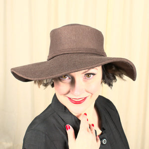 Vintage 1940s Brown Knit Brim Hat