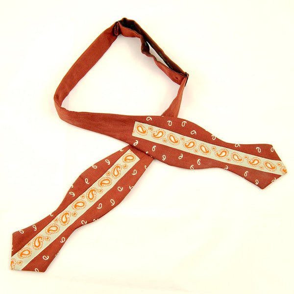 1940s Brown Paisley Bow Tie