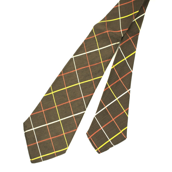 1940s Brown Window Check Tie