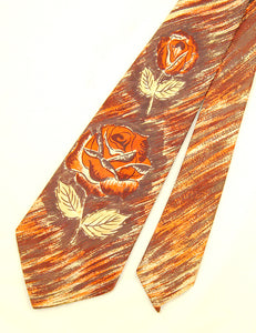 1940s Faux Painted Rose Tie by Vintage Collection by Cats Like Us - Cats Like Us