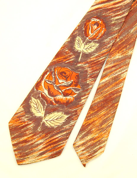 1940s Faux Painted Rose Tie