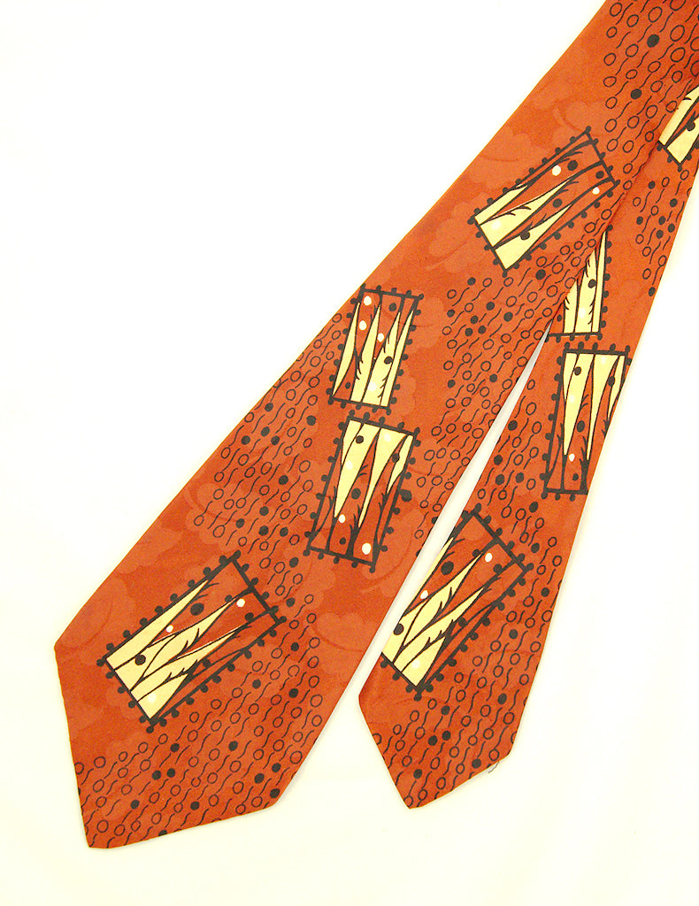 1940s Leaves & Abstract Tie by Vintage Collection by Cats Like Us - Cats Like Us