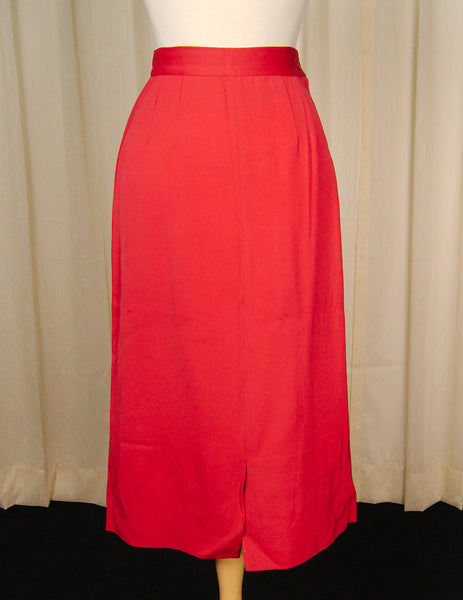 1940s Red Midi Wiggle Skirt by Cats Like Us - Cats Like Us